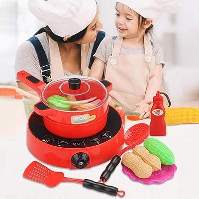 25PCS / Set Juguete de Cocina, utensilios de Mini Cocina de Juguete Cocina Infantil y Comida de Juguete con Sonidos, rol de Cocina Frutas Verduras para Niños: Bebé