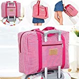 Travel Foldable Waterproof Duffel Bag -Women and Men Light weight Carry Luggage Tote Clothes Storage Large Capacity Carry-On Duffle Organiser,Girl red streak 1Pack