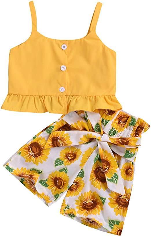 Newborn Infant Toddler Baby Girls Floral Summer Outfits Clothes Cuekondy Sunflower Off Shoulder Tops+Shorts+Headband Set