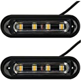 4-LED White & Amber Waterproof Emergency Beacon Flash Caution Strobe Light Bar 18 Different Flashing for Car SUV Pickup Truck Van (2PCS)