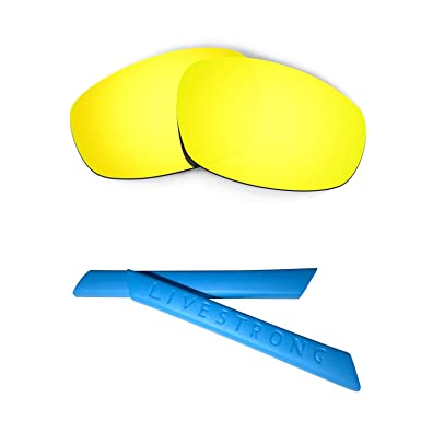 HKUCO Blue Polarized Replacement Lenses plus Yellow Earsocks Rubber Kit For Oakley Jawbone Vented 4JJGuhoGlO