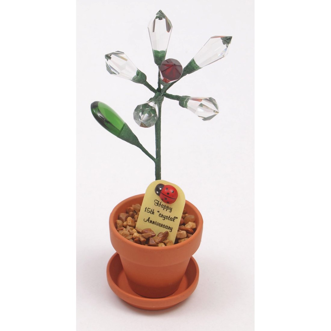 Amazon.com: 15th Wedding Anniversary Gift Potted Crystal Rose: Home ...