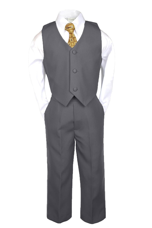 6pc Boys Baby Teen Dark Gray Grey Suits Set Satin Leopard Necktie Outfits SM-20