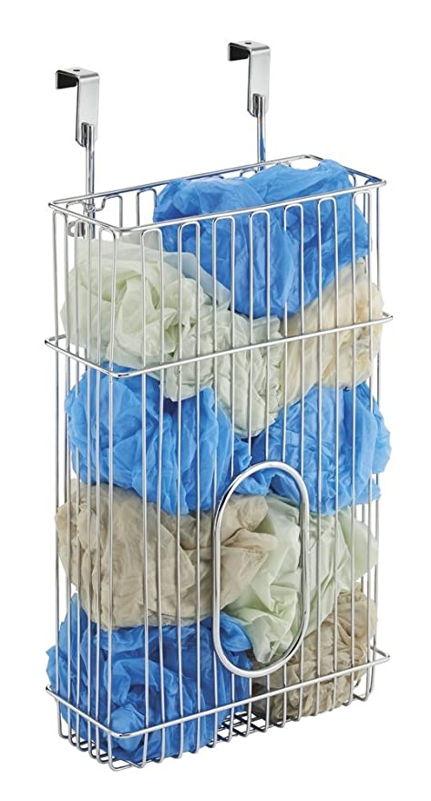 mDesign Portabolsas colgante Classico para el armario de la cocina – Organizador de bolsas fabricado en acero para guardar bolsas – Cesta metálica ...