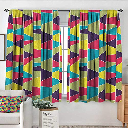 Mozenou Colorful Window Curtain Drape Mosaic Pattern with Lines and Hand Drawn Elements Borders with Trapezoid Shapes Decor Curtains by 55