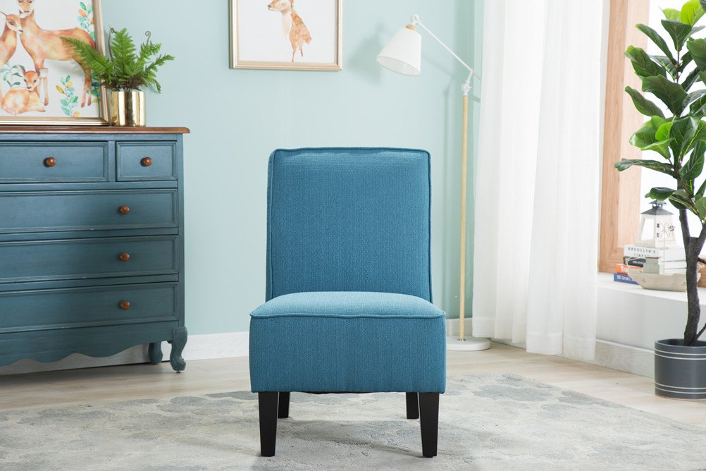 Changjie Cushioned linen Armless Settee Loveseat Sofa Couch Home Casual Living Room Sleeper (One Seat Blue) by Changjie (Image #4)