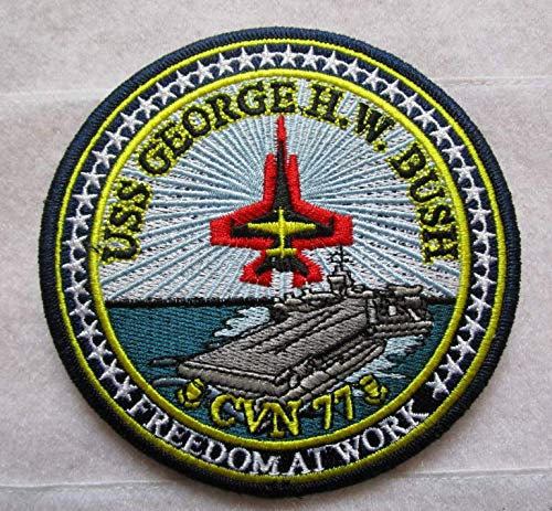 CVN-77 USS George Bush US Navy Aircraft Carrier Ship 3D Tactical Military Badges Embroidered Patch Back with Loops and Hook