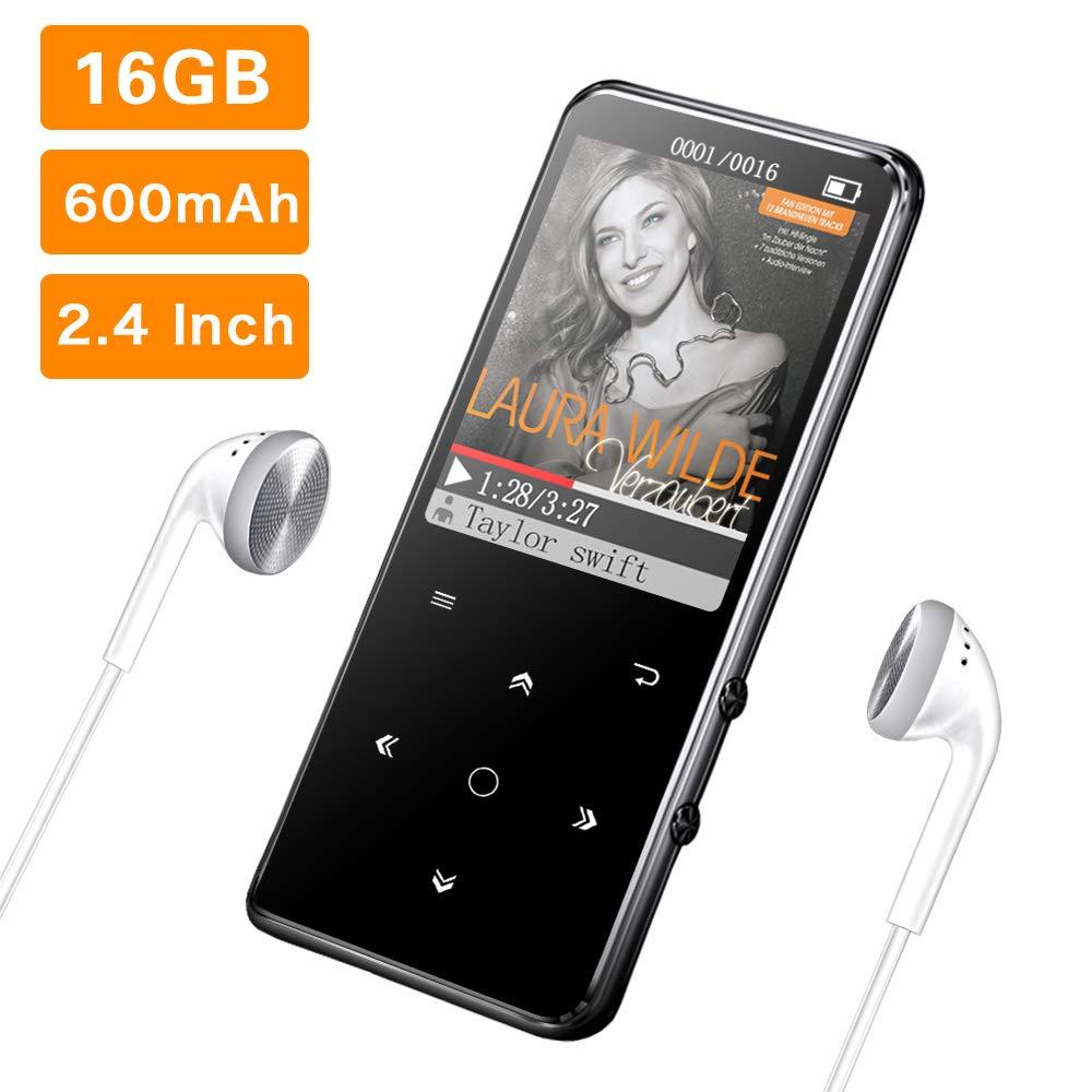 16G Reproductor MP3 Bluetooth 4.0 Mibao Reproductor de Música para el Deporte Pantalla TFT de 2.4 Pulgadas, FM Radio, Auriculares, Soporte SD USB TF hasta 64 GB Tarjeta