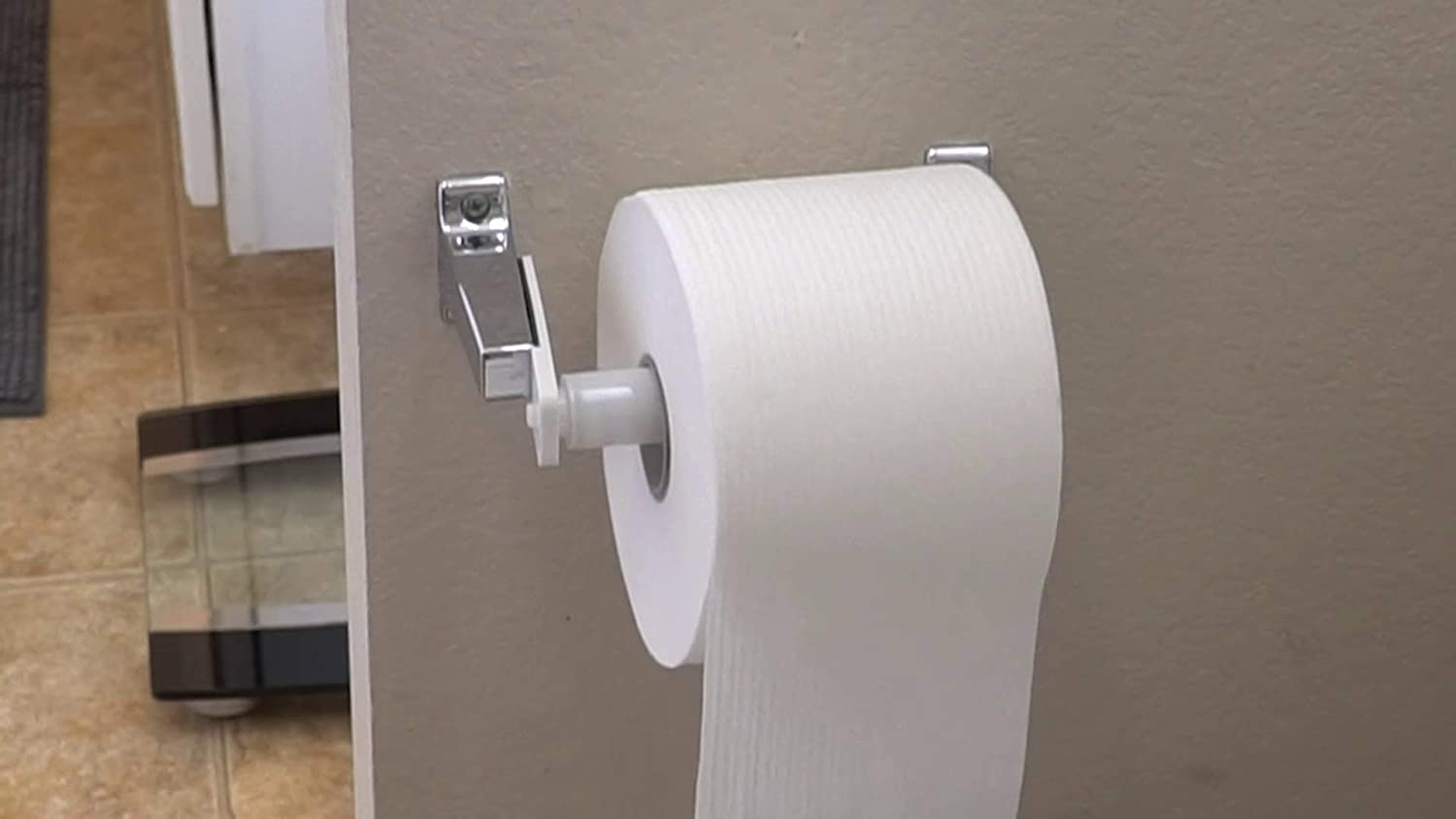 Teravan Fixed Extender - Toilet Paper Adhesive Extending Adapter for Large Rolls (White)