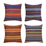 throw pillows for couch  Decorative Throw Pillow Cover for Couch Sofa Bed Bohemian Retro Stripe Cotton Blend Linen Pillow Case(Only Pillow Cover (4 Pieces, 18''x18'', J-1 Mix (4 Pack))