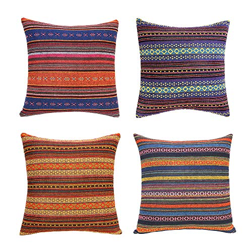 Merrycolor Decorative Throw Pillow Cover for Couch Sofa Bed Bohemian Retro Stripe Cotton Blend Linen Pillow Case(Only Pillow Cover (4 Pieces, 18