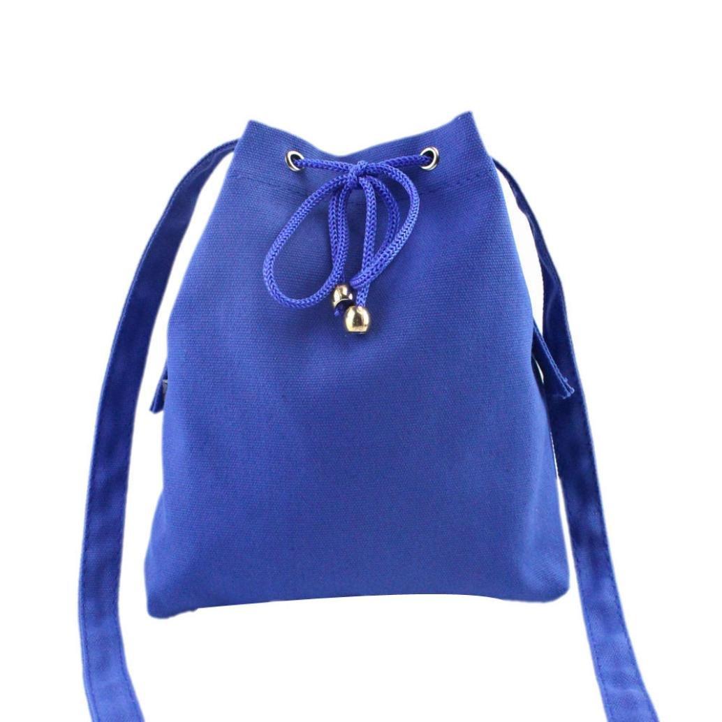 ammazonaレディースファッションキャンバス巾着ハンドバッグショルダーバッグトートバッグ財布 21cm*2cm*23cm AMZ-21 B01MXT1MKR  ブルー