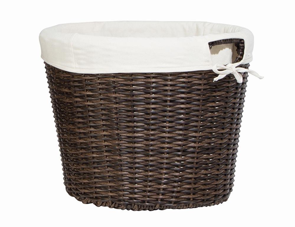 2 Stück SIENA GARDEN Universalkorb aus Kunststoff-Geflecht mit Baumwolleinlage, Feuerholzkorb, Kaminkorb, Ø 48 cm