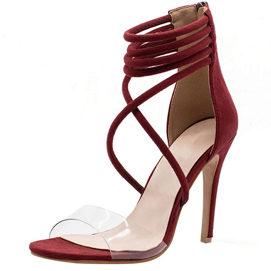 YKARITIANNA Women's Sexy High Heel Pointed Sandals Open Toe Back Zipper Hollow Casual Shoes Red by YKARITIANNA Shoes (Image #1)