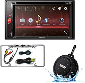 "Pioneer Double DIN 2DIN AVH-210EX 6.2"" Touchscreen Car Stereo MP3 CD DVD Player Bluetooth USB with DCO FL09CH Full License plate Night vision Waterproof back-up camera + WB12 Bluetooth Speakers"