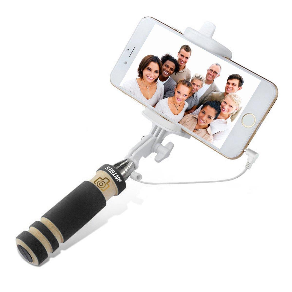 Selfie Stick by Stellar(TM) 1 Piece U-Shape Folding Selfie Stick Does Not Spin Extendable No Bluetooth No Batteries Black Colour Universal Phone Holder Clip (NEW Version - Audio Cable)