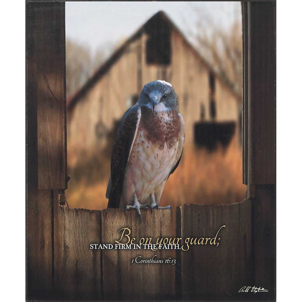 Dicksons Stand Firm In Faith Guarding Bird Rustic Wood Tone 10 x 12 Wood Wall Sign Plaque