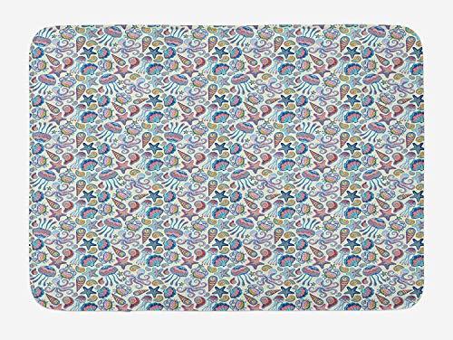 (Sea Animal Bath Mat, Starfish Shells Crab Octopus Figures Colorful Art Inspired by Aquatic Wildlife, Plush Bathroom Decor Mat with Non Slip Backing, Multicolor,15.7X23.6 inch)