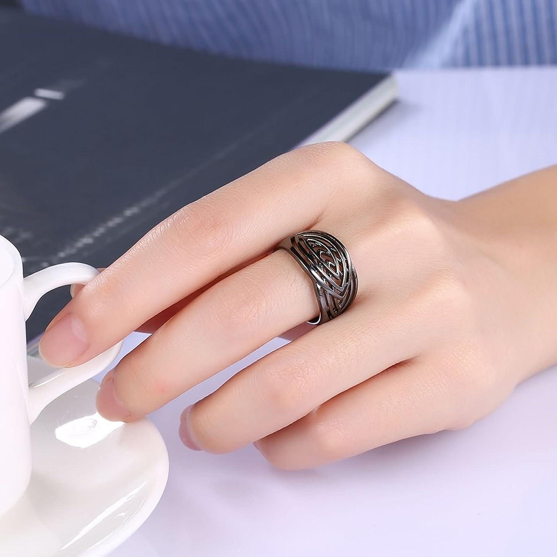 Amazon.com: Beydodo Women Ring, Gold Plated Ring for Brides Black ...
