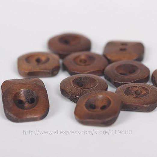 HDTTCX - Botones de madera para manualidades - Botones de madera para coser - Botones de madera de 15 mm para coser botones cuadrados manualidades ...