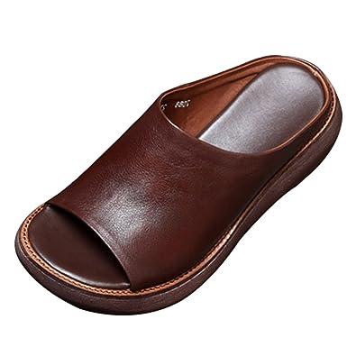 CHNHIRA Damen Sommer Keilabsatz Schuhe Pantoffel Sandale (EU 35, Braun)