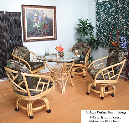 Natural Chiba Rattan Caster Chairs and Table 5 Piece Dining Set (Choice of Fabrics) (Island Forest) by Urban Design Furnishings