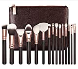 Makeup Brushes Set (15 Pieces)-Foundation Brushes, Cosmetic Brushes, Professional Brushes in Wood Handle, Shaped Design for Contour, Liquid, Powder, Cream and Concealer with Travel Pouch