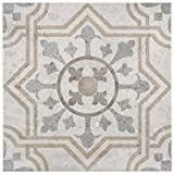 SomerTile FEM13LDM Lema Ceramic Floor and Wall Tile, 13.125'' x 13.125'', Grey/Brown/Blue