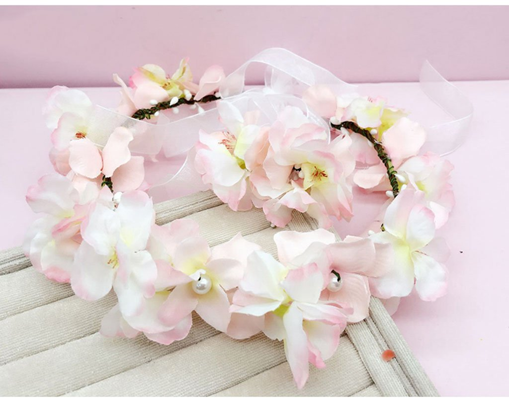 Wreath Flower, Headband Flower Garland Handmade Wedding Bride Party Ribbon Headband Wristband Hairband White (Color : B)