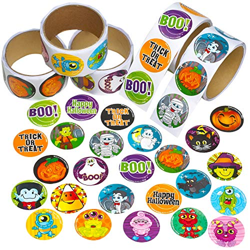 Halloween Sticker Roll for Kids - 500 Pcs Assorted Spooky Sheets - Party Favors, Game Prizes, Novelty Toys, Wall Decals, Creative Scrapbooks, Personalized Arts and Crafts