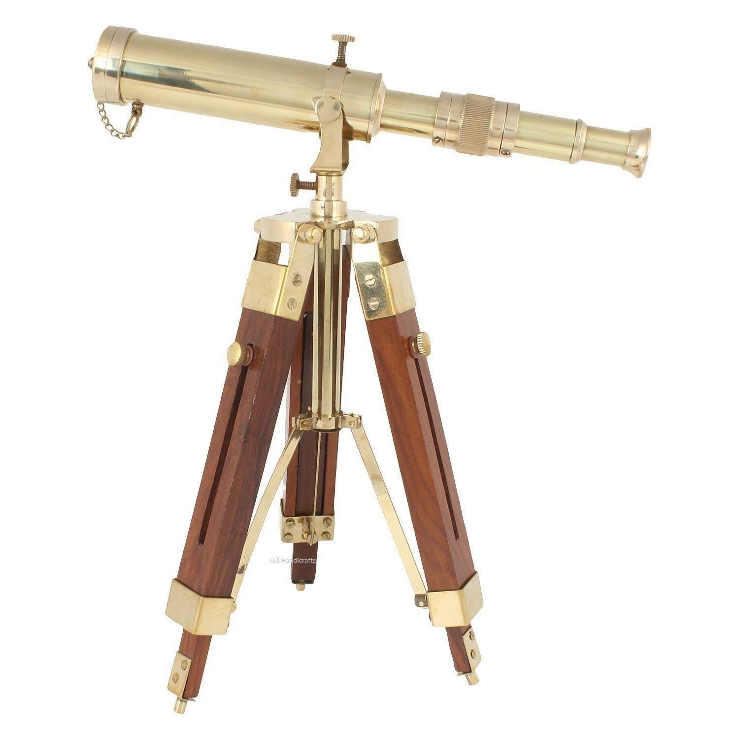 Arsh Nautical Vintage Nautical Brass Telescope with Brown Tripod Stand Antique Designer Scope A