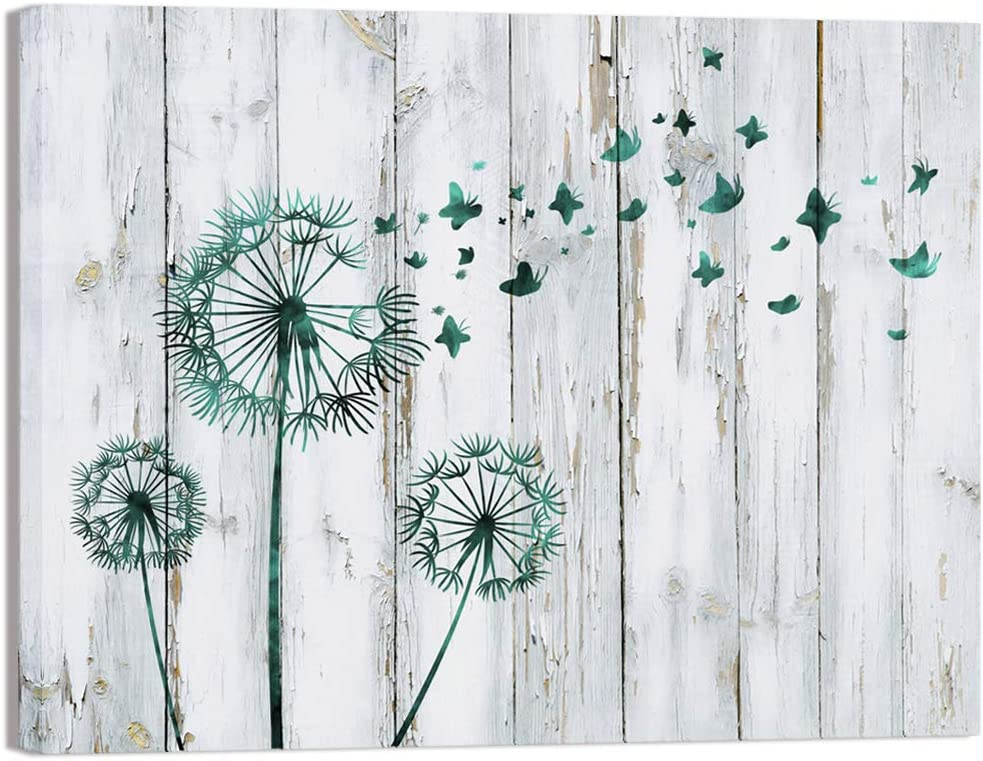Visual Art Decor Abstract Teal Dandelion Butterfly Painting Flowers Prints on Rustic Wood Background Canvas Framed and Stretched Floral Picture Decoration for Home Bathroom Bedroom Kitchen