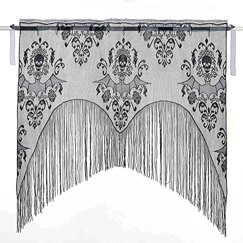Lace Decor Window Panel (Scared Halloween Polyester Lace Window Panel Curtain/Furnace Decor for Home Party Decor,Irregular Bat and Skull Pattern with Tassels,Black,38