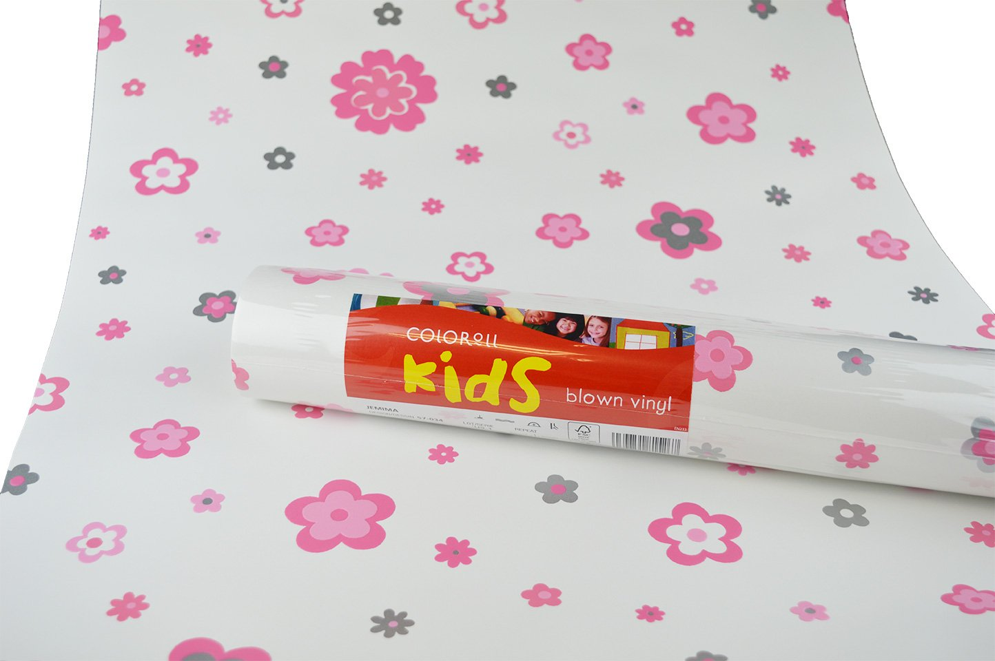 Kids Toddlers Girls Blown Vinyl Flower Pink Silver Off White