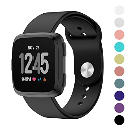 Humenn Sport Bands Compatible for Fitbit Versa, Silicone Accessory Strap Band Compatible for Fitbit Versa Smartwatch Large Small