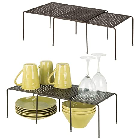 mDesign Adjustable Metal Kitchen Cabinet, Pantry, Countertop Organizer  Storage Shelves: Expandable - 4 Piece Set - Durable Steel, Non-Skid Feet -  ...
