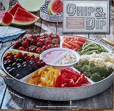 Galvanized Lazy Susan Chip & Dip