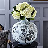 Tozai Large Hand-Painted Gold and Black Floral Design Jar
