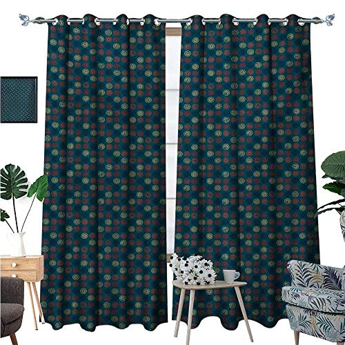 BlountDecor Geometric Room Darkening Wide Curtains Blue Toned Background with Warm Colored Bullseye Patterned Circles with Stars Customized Curtains W96 x L108 Multicolor (Bullseye Plum Light)