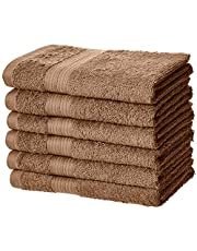 AmazonBasics Fade-Resistant Cotton Hand Towel - Pack of 6, Acorn Brown