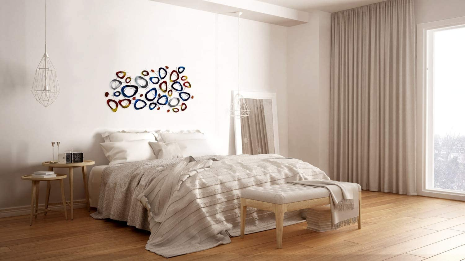 Large hand-crafted wall decoration abstract circles Blue Red KunstLoft Vivid metal wall art Planetary Magic 50x28x2inches Contemporary design picture sculpture mural