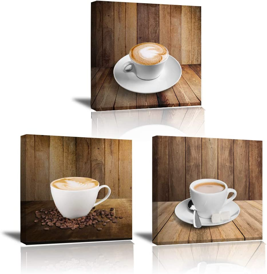 Coffee Wall-Art Kitchen Decor - Canvas Framed Painting Cafe Cup Theme Table Dining Room Brown Wood Artwork Modern Living Room Decoration Prints Food Picture Vintage Poster 3 Panel