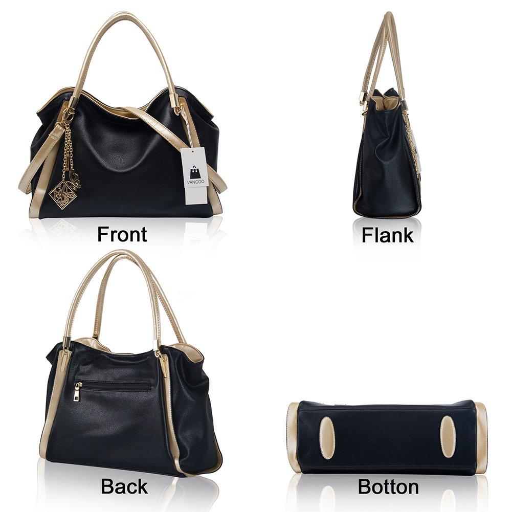 1adbe4e98a4dc VANCOO Womens Handtaschen Damen Designer Schultertasche PU Leder 3 Fächer  Tote New Celebrity Style Large (Black)  Amazon.de  Schuhe   Handtaschen
