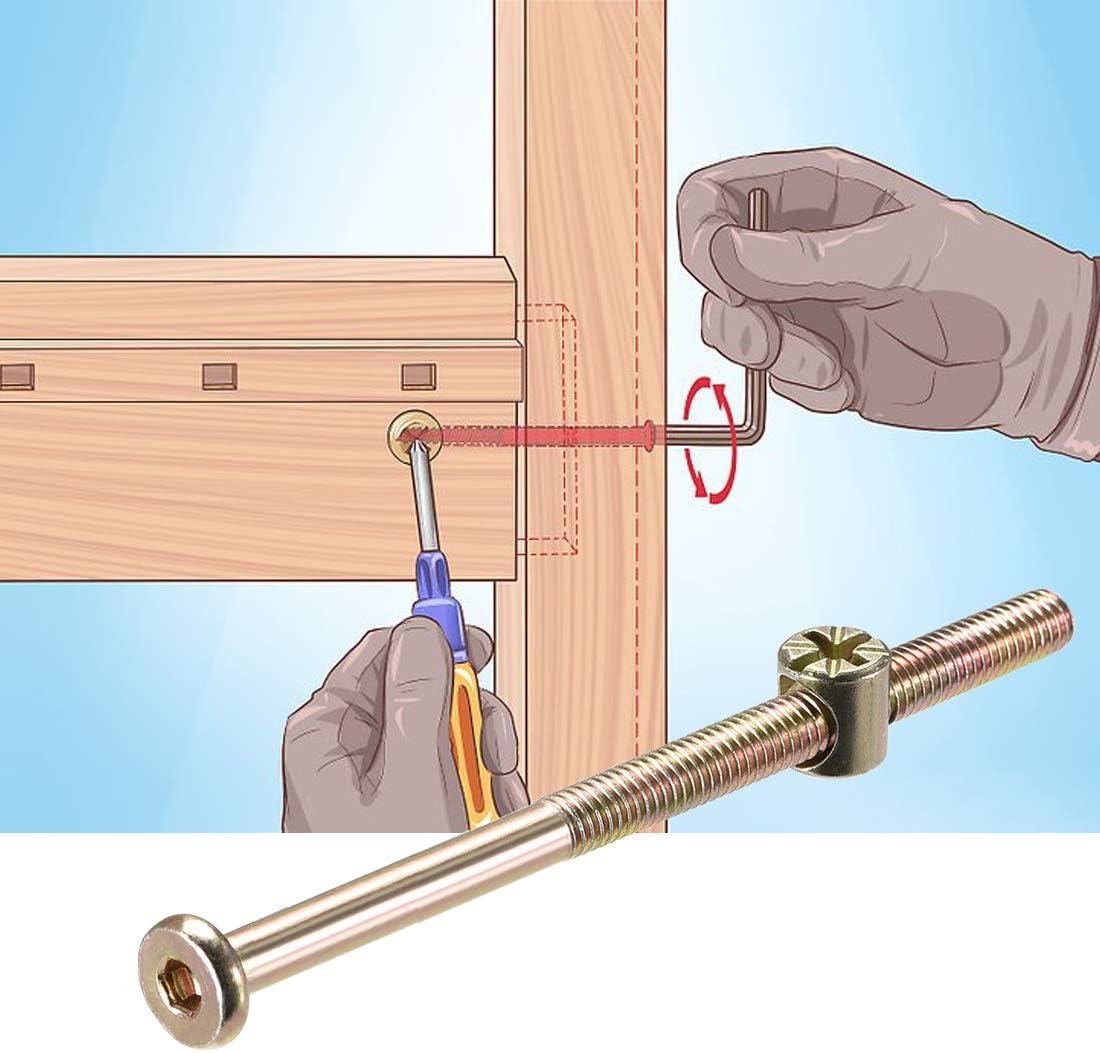 Sourcingmap M6 x 110 mm con tuercas de cilindro y tuercas Phillips 10 juegos Juego de tornillos hexagonales para muebles