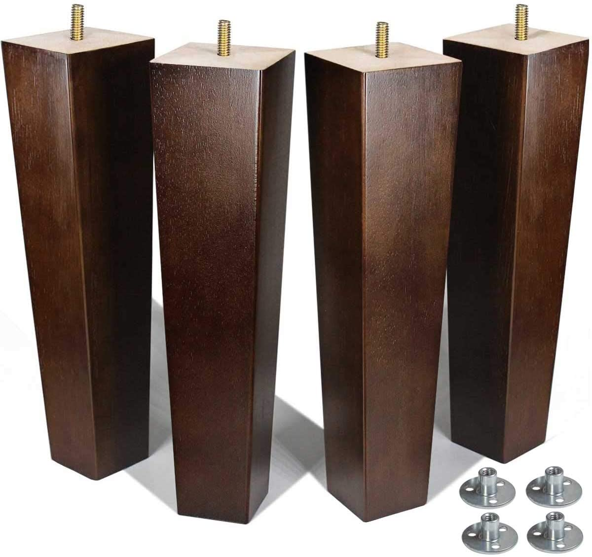 AORYVIC Furniture Legs 12 inch Wood Bench Legs Chair Legs Square Table Legs for Sofa Ottoman Brown Pack of 4