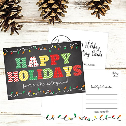 50 Chalkboard Holiday Greeting Cards, Cute Fancy Blank Winter Christmas Postcard Set, Bulk Pack of Premium Seasons Greetings Note, Happy New Years for Kids, Business Office or Church Thank You Notes Photo #6