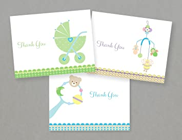 Amazon.com : Baby Shower Thank You Cards (24 Fold-over Cards and ...