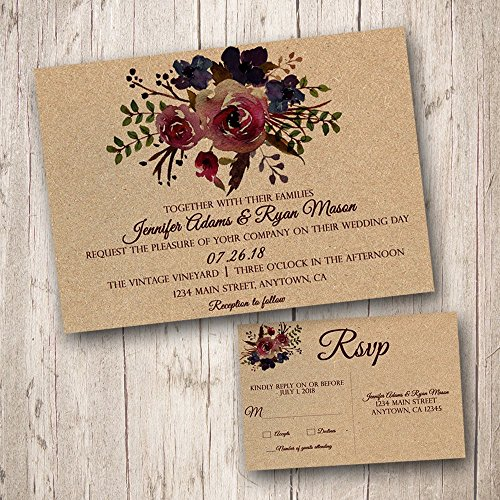 Rustic Wedding Invitations with RSVP cards, burgundy wedding invitations, kraft wedding invitations, floral wedding invitations, watercolor wedding invitations (Pack of 10)