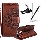 Rope Leather Case for Samsung Galaxy A510 2016,Strap Wallet Case for Samsung Galaxy A510 2016,Herzzer Bookstyle Classic Elegant Mandala Flower Pattern Stand Magnetic Smart Leather Case with Soft Inner for Samsung Galaxy A510 2016 + 1 x Free Black Cellphone Kickstand + 1 x Free Black Stylus Pen - Brown