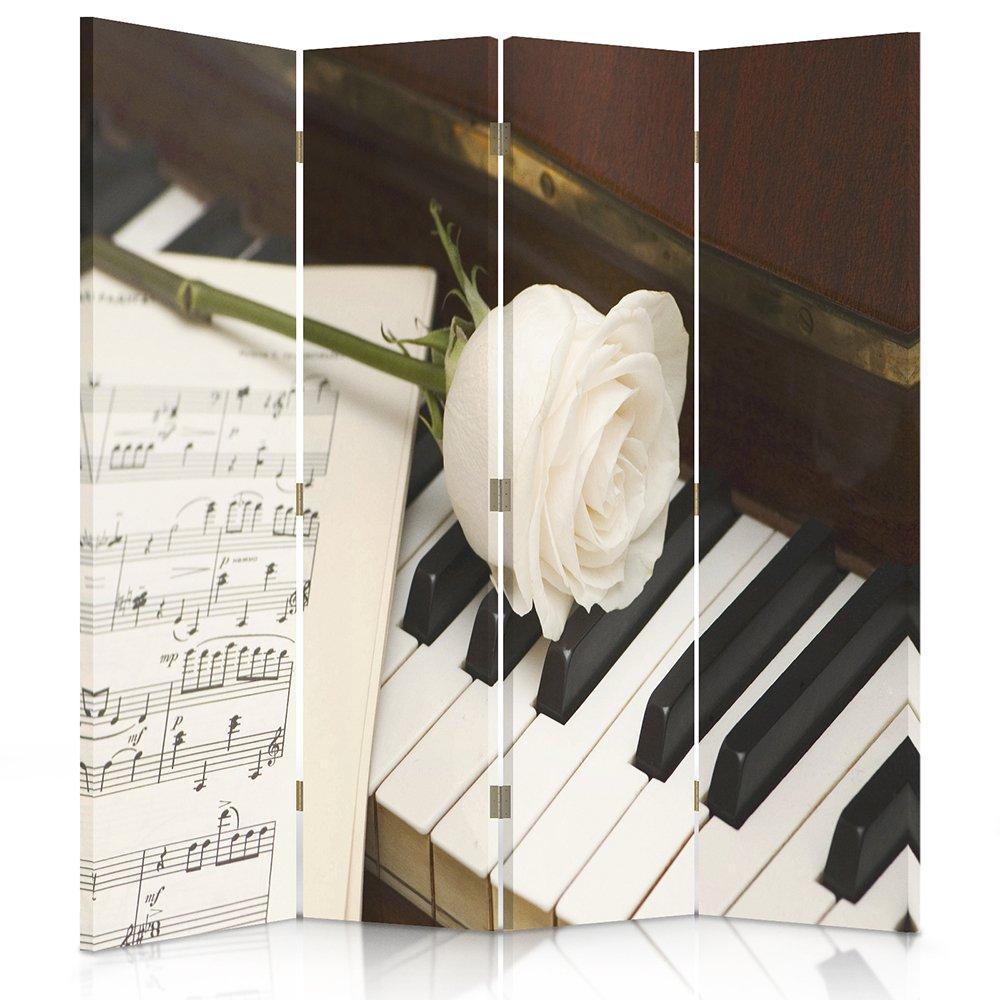 feeby Marcos Lienzo Protector de, decorativo habitación separador, biombo, doble cara, 360 °, 3 o 4 paneles música, instrumentos, Piano, teclados, ...